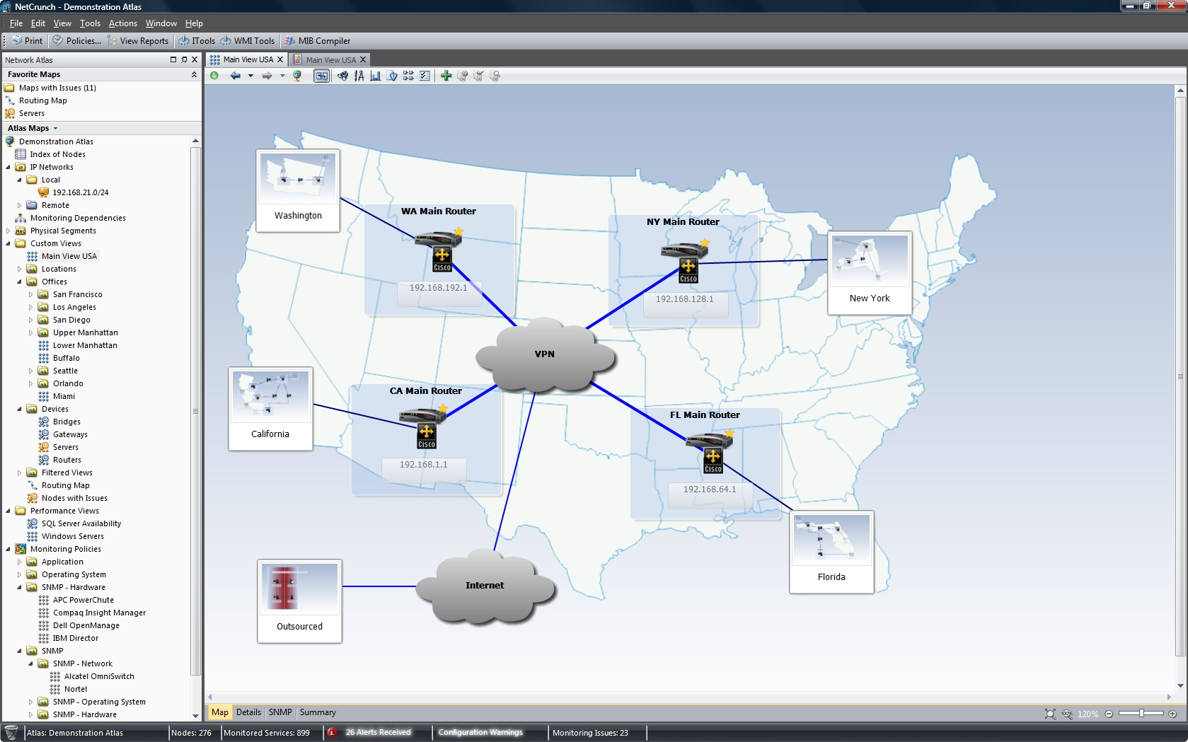 Network mapping monitoring, alerting and reporting software.